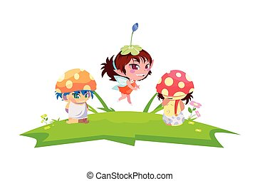 fungus elfs and fairy in the garden vector illustration...