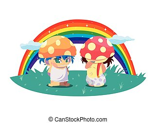 fungus elfs with rainbow magic characters vector...