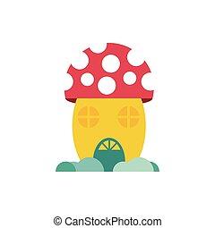 fungus house fairytale object isolated icon vector ...