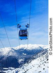 funiculaire, ascenseur, devant, ski, vue