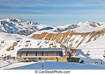 funicular, alpes, estación, francés