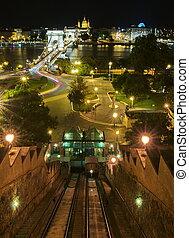 funicular, budapest, noche