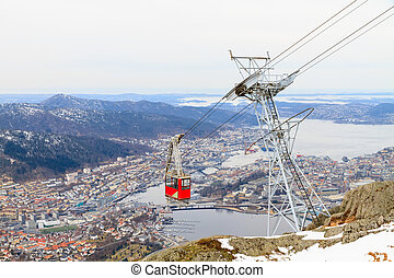 Funicular cabin against Bergen, Norway.