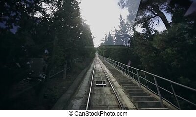 Funicular climbs to the top of the town Tbilisi