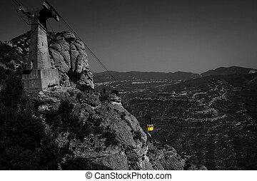 funicular, montañas, encima