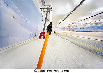 funicular, mountain;, interior, -, arriba alto, yendo,...