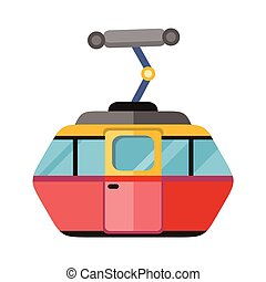Funicular Railway Cable Car Isolated. Vector