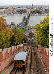 Funicular railway on the way to Buda Castle, in Budapest, Hungary