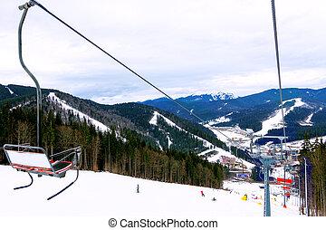 funicular, recurso, ferrocarril, esquí