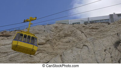 Funicular ride at Rosh Hanikra - Cable cars moving up and...