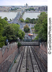 Funicular to Buda castle in Budapest, Hungary