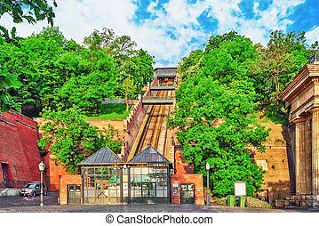 Funicular to lift up the mountain on which stands the Royal Palace of Hungarian kings.