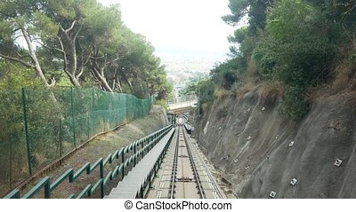 Funicular transportation in Barcelona tunnel. Speed road....