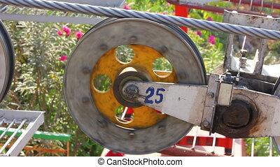 funicular wheel closeup