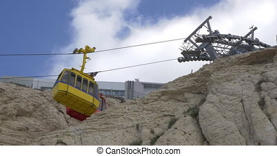 Funiculars of the world steepest cable way at Rosh Hanikra -...