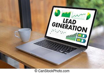 funil, liderar, negócio, geração, marketing, processo
