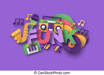 Funk afro music quote papercut musical icon - Funk music ...