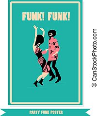 Funk vinyl poster. Party poster. Dancing funk people.