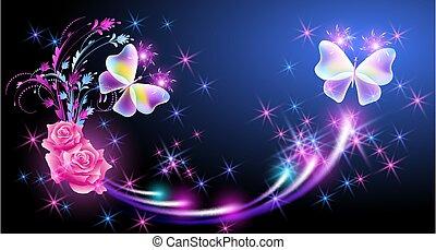 funkeln, fliegendes, rosen, vlinders, sternen, fantasie