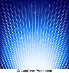 funkeln, sternen, auf, blaues licht, bersten, hintergrund