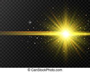 funkeln, strahlen, explosion, bunte, bersten, effect., sonne, blitz, star., flare., abbildung, linse, hintergrund., glühen, vektor, balken, spotlight., stern, durchsichtig