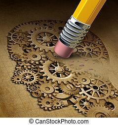 funktion, hjärna, förlust