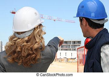 funktionsduglig plats, tillsammans, konstruktion, handlare, ingenjör