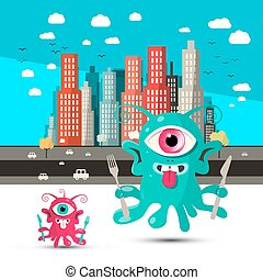Funky Alien Cartoon. Aliens with City on Background. Vector.