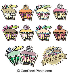 Funky assortment of vector cupcakes