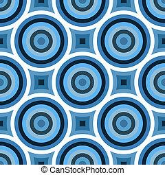 funky, blaues, kreise, muster
