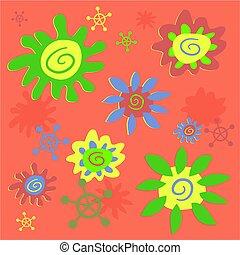 funky, bloemen, tegel