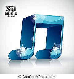 Funky blue double musical note 3d modern style icon isolated, 3d