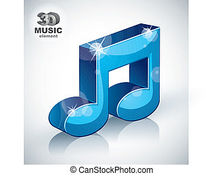 Funky blue musical note 3d modern style icon isolated.