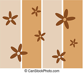 funky, bruine , retro bloemen