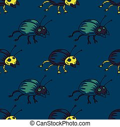 Funky bug seamless pattern
