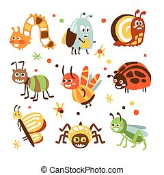 Funky Bugs And Insects Collection Of Small Animals With Smiling Faces And Stylized Design Of Bodies