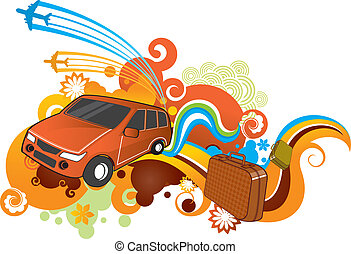 car travel - funky car travel pattern.