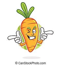 Funky Carrot mascot, Carrot character, Carrot cartoon -...