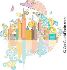funky city background