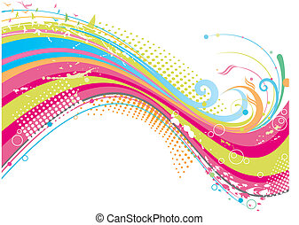 funky, coloridos, fundo
