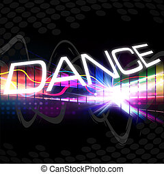 A rainbow colored graphic equalizer with the word DANCE and plenty of copyspace.