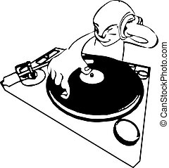 funky dj illustration - A a funky dj mixing.