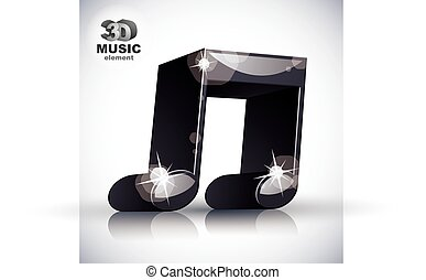 Funky double musical note 3d modern style icon isolated.