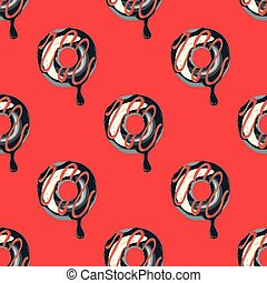 Funky doughnut seamless pattern