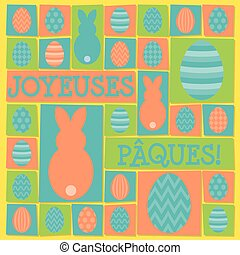 "Funky Easter card in vector format. Words translate to ""Happy Easter""."
