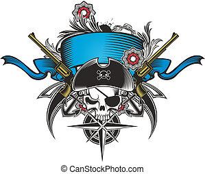funky, elementos, pirata, cranio