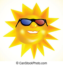 Funky fashionable sun wearing 3d spectacles