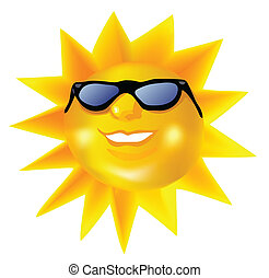 Funky fashionable sun wearing spectacles. Vector