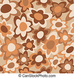 Funky Flowers Pattern Brown