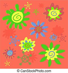 funky flowers tileable background design